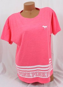Victoria's Secret Sslouchy Coral White Puppy Stripes T Shirt Pink
