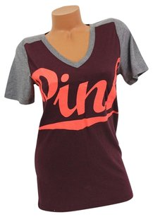 Victoria's Secret Pink Maroonneon Scriptmarled Gray T Shirt Red