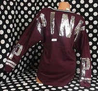 Victoria's Secret Lpinkbling Sequin Maroon Varsity Crew Fashion Show London Sweater