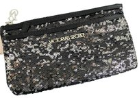 Victoria's Secret Victorias Secretwallet Clutchbling Zip-pocket Bag Black Silver Sequin