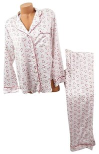 Victoria's Secret Victorias Secret The Afterhourspj Set Satin Pajama Off-whitered Hearts