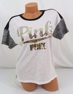 Victoria's Secret Pink Silvergold Ombre Sequin Bling T Shirt White