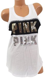 Victoria's Secret Pink Mbling Muscle Tank Cottonmodal T Shirt White