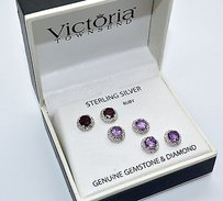 Victoria Townsend 100 Victoria Townsend Sterling Silver Ruby Amethyst Set Earrings