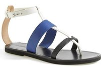 Vince Crete Leather Thong Blue Sandals