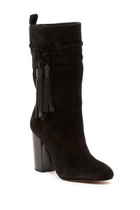 Vince Camuto Suede Leather Tassels Slouch Black Boots