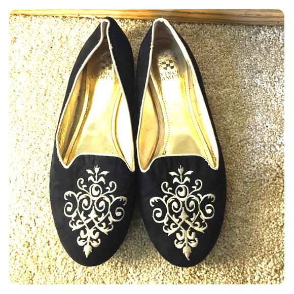 Vince Camuto Black Loafers Embroidered Gold Smoking Slipper Flats Size US 9 Regular (M, B)