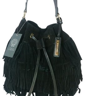 Vince Camuto Leather Suede Drawstring Fringe Luxury Shoulder Bag