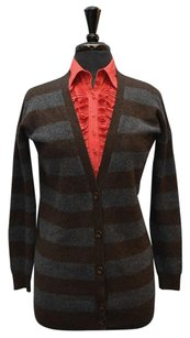 Vince 100 Cashmere Striped Button Front Cardigan Sweater