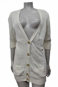 Vince Linen Blend Short Sleeve Cardigan Sweater
