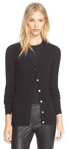 Vince Skinny Rib Knit Cashmere Vneck Button Up Blouse Cardigan Sweater