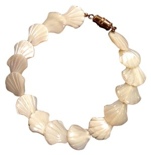 Genuine, Hand Carved Mother-Of-Pearl Shell Bracelet