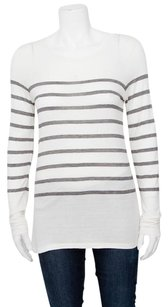 Vince Gray Striped Long T Shirt Ivory