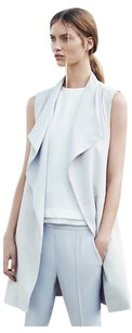 Vince Leather Draped Tie Long Vest
