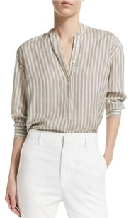 Vince Lessismore Modern Chic Classic Striped Button Down Shirt Vanilla/charcoal
