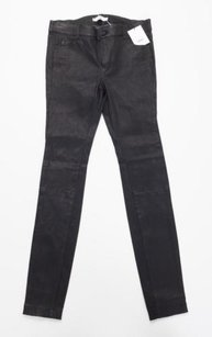 Vince Womens Black Leather Skinny Jeans