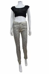 Vince Silver Gold Metallic Skinny Jeans