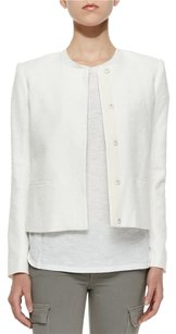 Vince Textured Collarless White Jacket