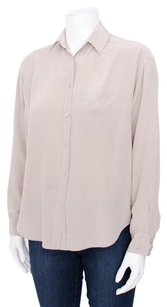 Vince Long Sleeve Button Up Collared Silk Crepe Pocket Shirt Top Beige