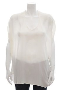Vince White Cream Silk Top Ivory