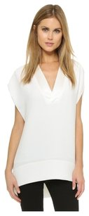 Vince V-neck Crepe Loose Top White