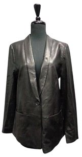 Vince Vince Black Edgy One Button Leather Blazer W Pockets W Lining Sma10246