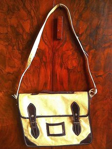Leather Canvas Bohemian natural and dark brown Messenger Bag
