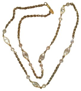 Signed Miriam Haskell Crystal Gold Tone Long Necklace