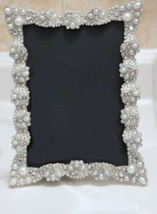 10 Vintage Style Jeweled Rhinestone Frame Bling Silver Diamond Table Number Frames Ornate Picture Photo Wedding 5x7