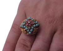 Vintage Victorian 18k yellow gold genuine diamond with ruby's and turquoise ring