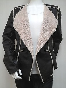 Waverly Grey Waverly Naomi Faux Distressed Leather Patchwork Shearling Gray Jacket
