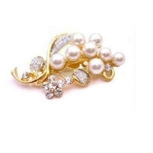 Wedding Bouquet Gold Brooch Affordable W/ Pearls & Diamond Sparkling