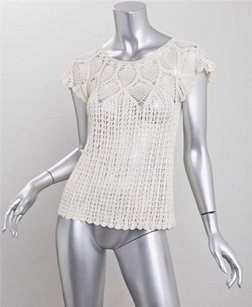 What Goes Around Comes Around Graciela Crochet Shirt Top Ivory
