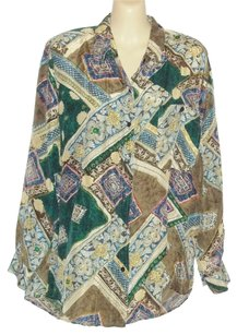 Whistles 100% Silk Long Sleeve Top Multi Color