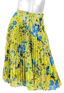 Whistles Womens Chiffon Floral Pleated Below Knee 2634 Skirt Yellow