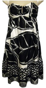 White House | Black Market short dress Black & White Silk Knee-length Empire Waist Strapless on Tradesy