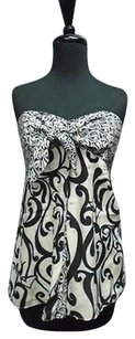 White House | Black Market Geo Print Strapless 3368a Top Black And Off White