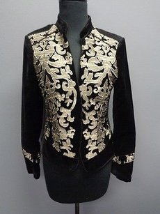 White House | Black Market White House Black Market Black Gold Embroidered Blazer Jacket Sma4374