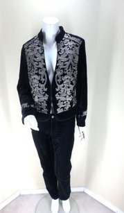 White House | Black Market White House Black Market Embroidered Rhinestone Velvet Outfit Jacket Pants