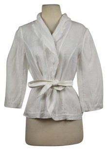 White House | Black Market White House Black Market Womens White Blazer Linen 34 Sleeve Casual