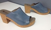 White Mountain Leather Blue Mules