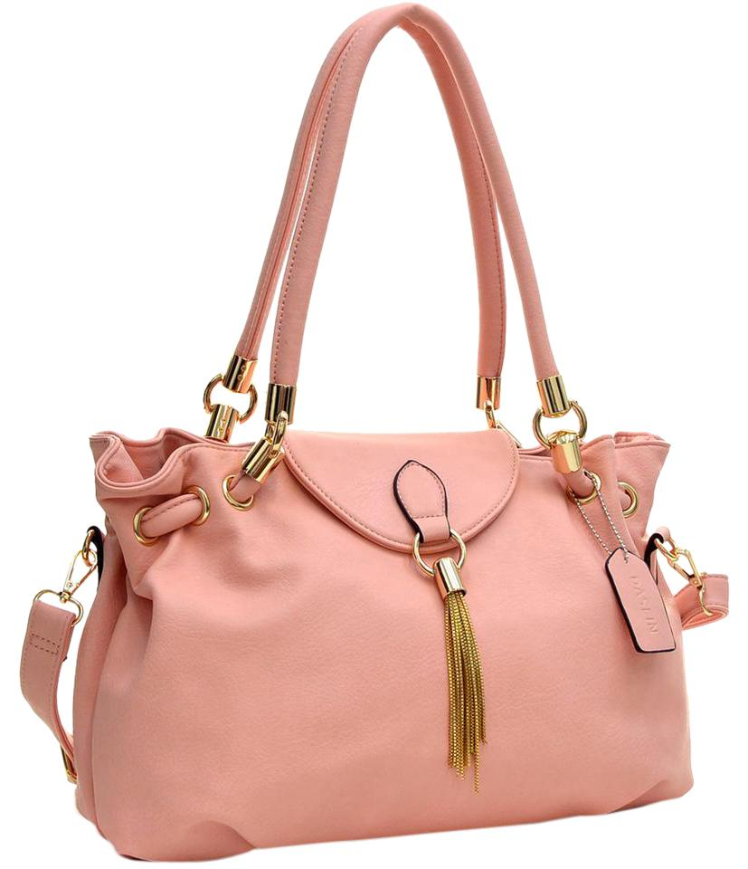 Pink faux leather shoulder bag DOVGAvk