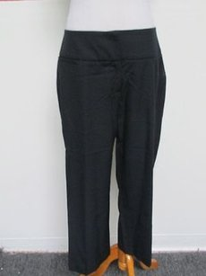 Womyn Navy Flat Zip Front Solid Casual Career Crop Slacks C650 Capri/Cropped Pants Blue