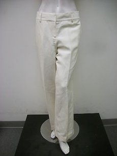 Worth Linen Silk Blend Straight Leg Cuffed Hem Dress Pants
