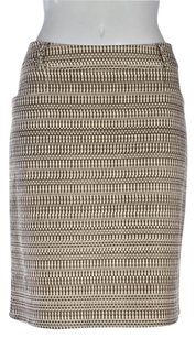 Worth Womens Printed Pencil Knee Length Career Skirt Taupe Brown