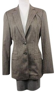Worth Worth Womens Brown Striped Blazer Long Sleeve Basic Jacket Polyester