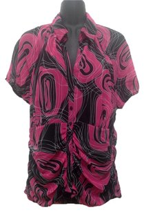 Worthington Xl Shirt Xl Button Down Shirt Fuchsia patterned print