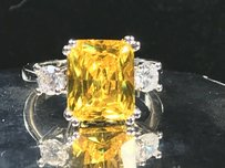 Yellow Sterling Silver Plated Limited Citrine and #.7002 Engagement Ring