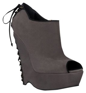 Yves Saint Laurent Bootie Boot Peep Toe Corset Gray Boots