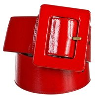 Yves Saint Laurent Yves Saint Laurent Red Distressed Patent Leather Belt (Size S)